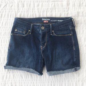 Levi's Modern Skinny Cuffed Shorts Dark Wash 6